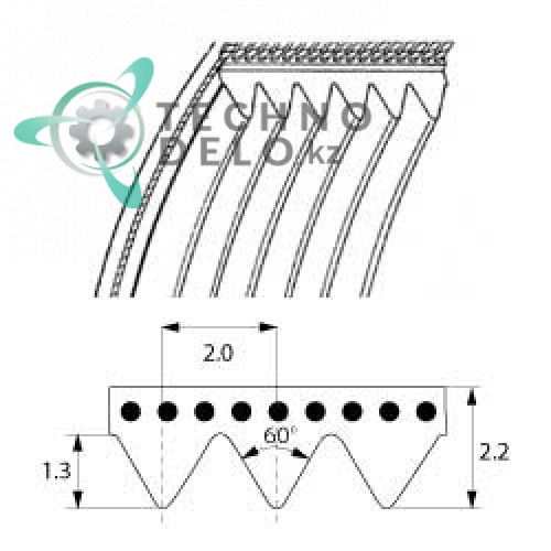 Ремень TB2-480 (11 ручейков) для слайсера Cookmax, Sirman и др. Фото: 0