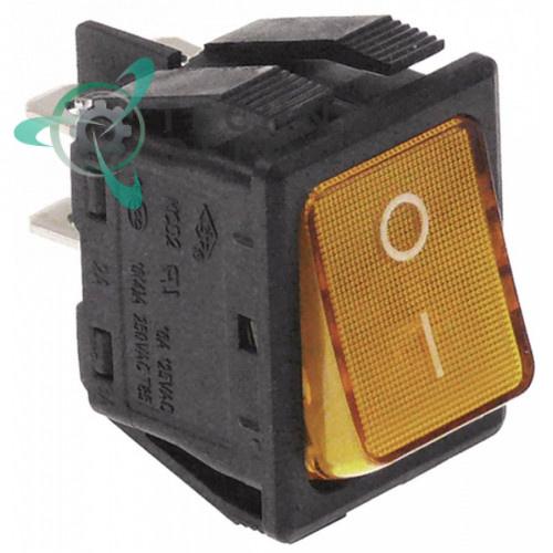 Выключатель балансирный оранжевый монтаж 30x22мм с подсветкой (2NO 250В 16А)