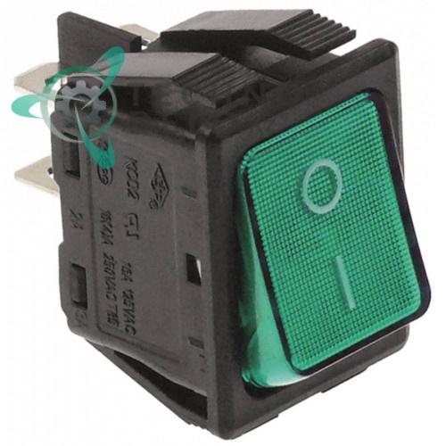 Выключатель балансирный зеленый монтаж 30x22мм с подсветкой (2NO 250В 16А)