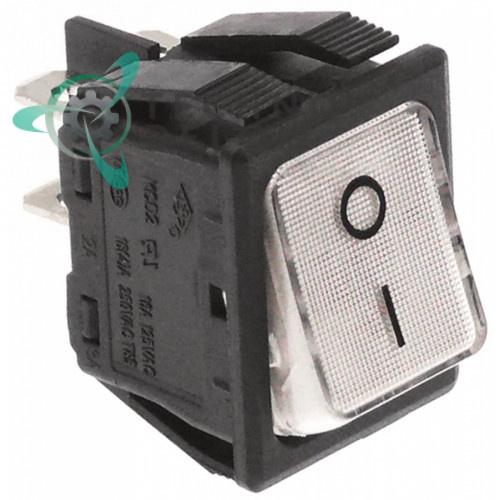 Выключатель балансирный монтаж белый 30x22мм с подсветкой (2NO 250В 16А)