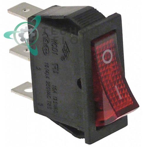 Выключатель балансирный красный монтаж 30x11 мм 1NO/250В/16А с подсветкой