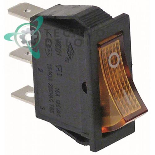 Выключатель балансирный оранжевый монтаж 30x11 мм 1NO/250В/16А с подсветкой