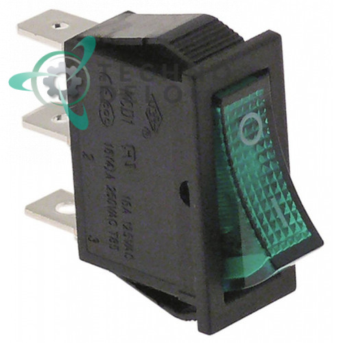 Выключатель балансирный зеленый монтаж 30x11 мм 1NO/250В/16А с подсветкой