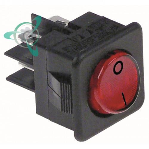 Выключатель балансирный красный монтаж 25,5x25 мм (2NO / 250В / 16А)