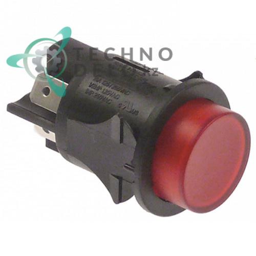 Кнопка красная монтаж ø25мм (2NO 250В 16А) с подсветкой