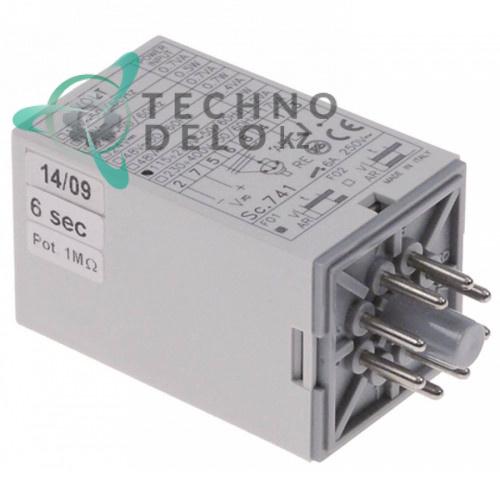 Реле времени CDC Sc742 6 секунд 115-230VAC 6A монтажный размер 38x38мм 1CO штепсельный круглый разъём 8 полюсов