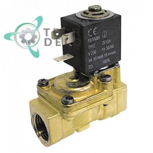 Клапан электромагнитный Sirai L180-B 1/2 L66мм Z610A 230VAC 120174 для Comenda, Electrolux, Zanussi и др.