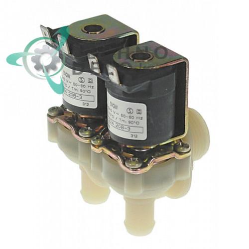 Клапан электромагнитный двойной Muller 230VAC 3/4 d4мм для посудомоечной машины Hobart