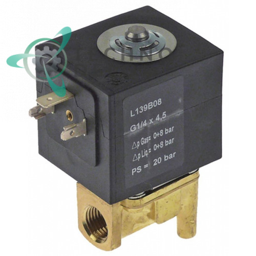 Клапан электромагнитный Sirai L139 1/4 L40мм Z130A 230VAC 65110100 для Lainox, Silko и др.