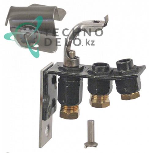 Горелка конфорочная 2-х пламенная природный газ/сжиженный газ подключение 6мм дюза 14/27 для Olis и др.