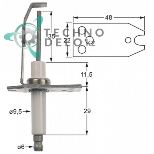 Электрод зажигания Honeywell фланец 48x23мм газовой горелки G101034 RX94051513 для оборудования Capic, Rosinox и др.