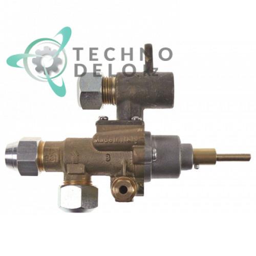 Кран газовый (аналог EGA) GPEL21R M18x1,5 трубка ø12мм дюза ø0,35мм M8x1 M10x1 ось 6x4,6мм для плиты