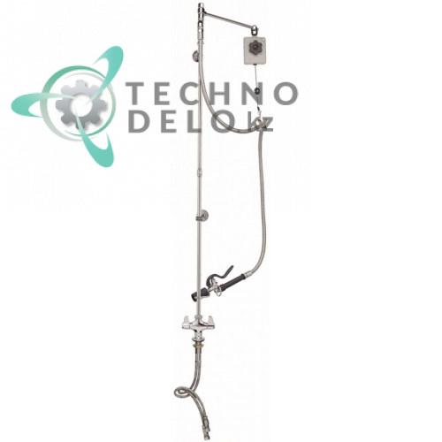 Душ ручной для мойки посуды T&S одноблочный кран-смеситель без излива 2,46 л/мин высота 1407мм подключение 1/2