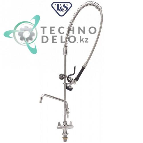 Душ ручной T&S для мойки посуды 1/2 с одноблочным краном-смесителем и поворотным изливом высота 980мм 594034