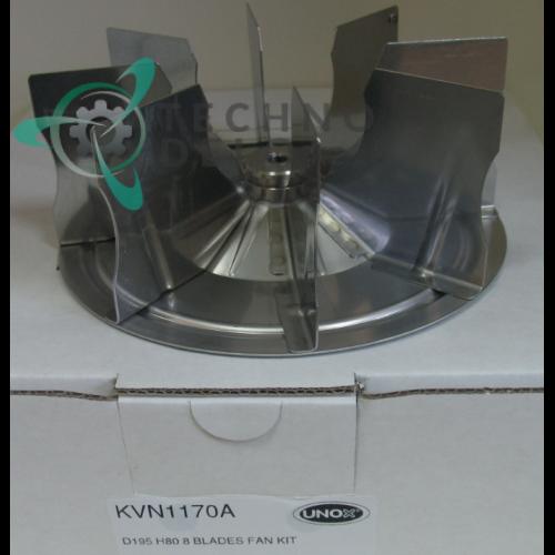 Крыльчатка обдува камеры печи Unox XEBC, XEVC / арт. KVN1170B (D-195мм H-80мм 8 лопаток)